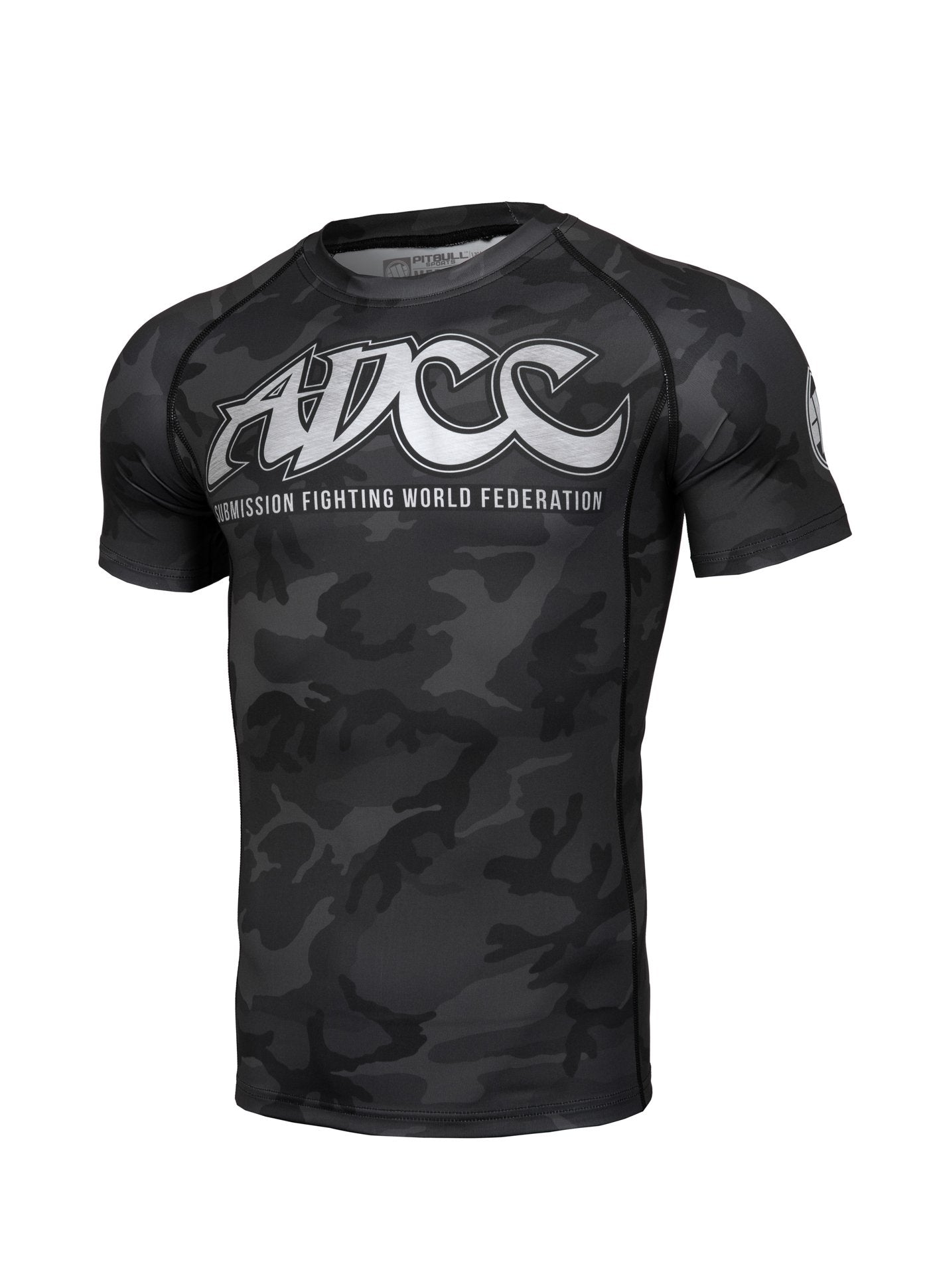 ADCC All Black Camo Short Sleeve Rashguard - Pitbull West Coast U.S.A.
