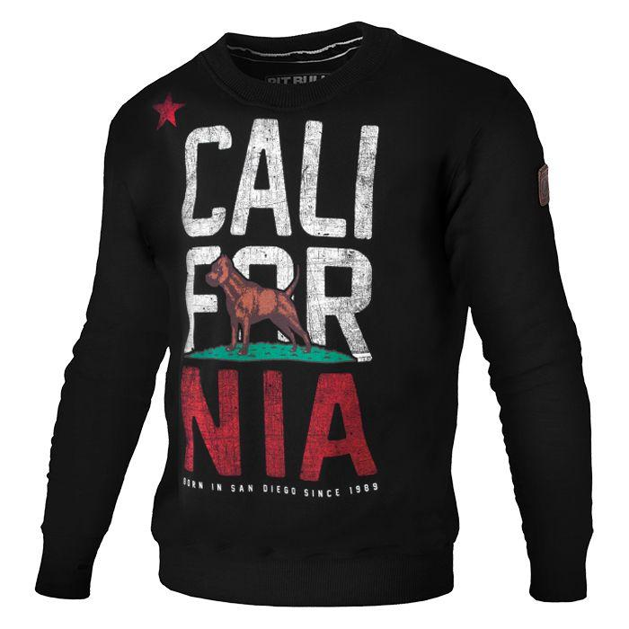 Crewneck Sweatshirt CALIFORNIA FLAG Black - Pitbull West Coast U.S.A.