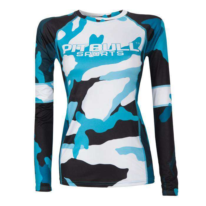 Women's Rashguard Longsleeve CAMO 2 Blue - Pitbull West Coast U.S.A.