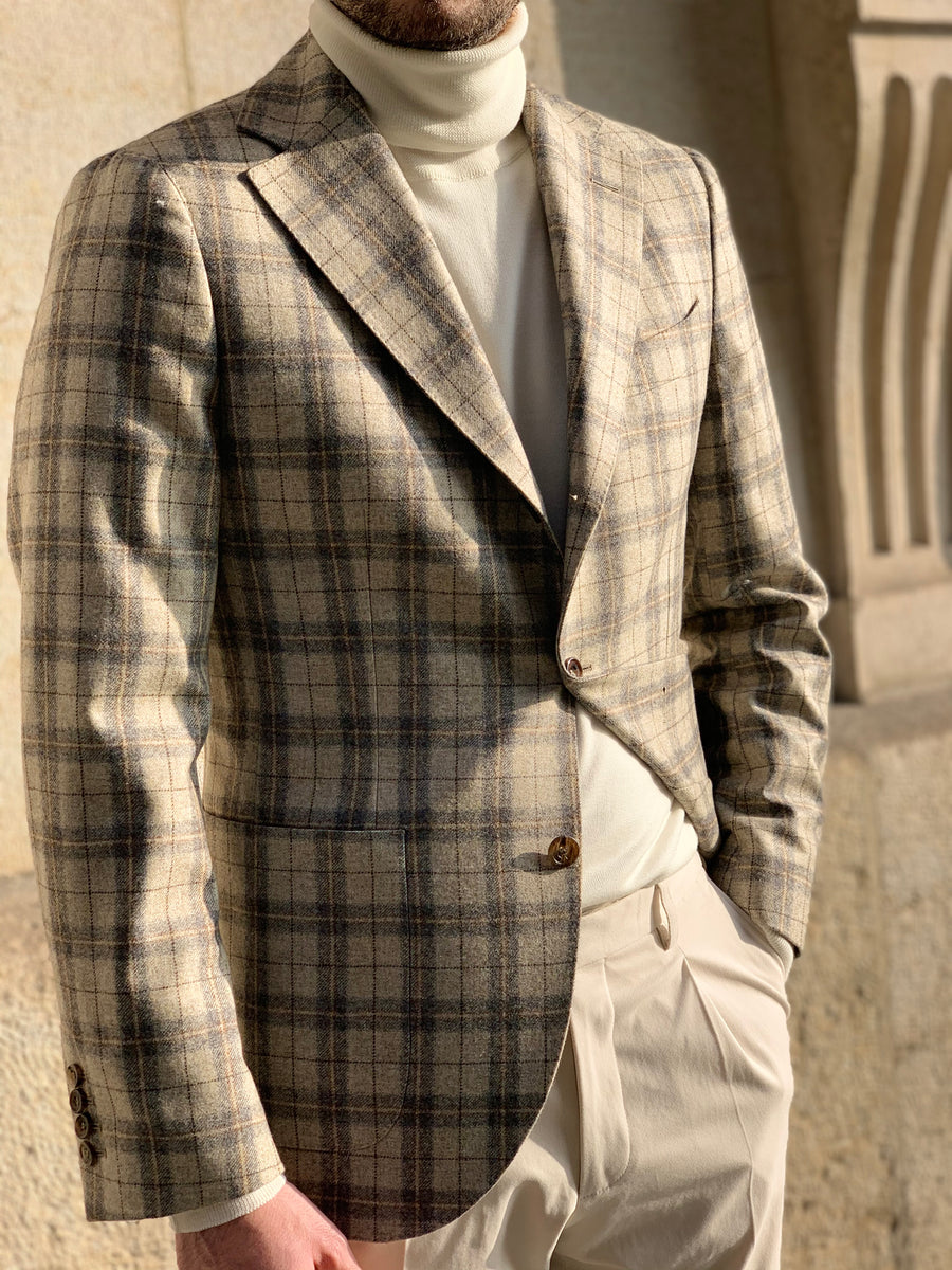 AS BLAZER BEIGE GREY CHECK
