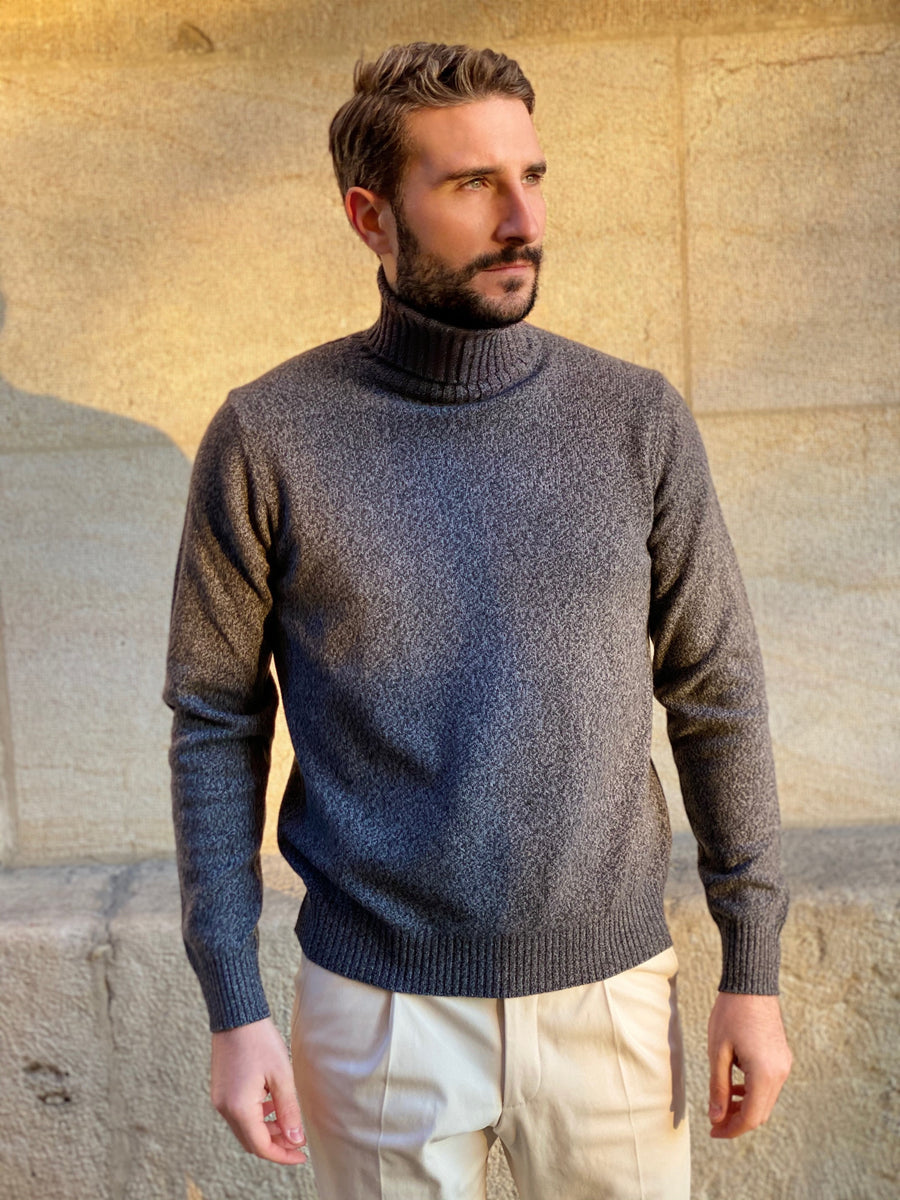 TURTLE NECK WOOL & CASHMERE ANTHRACITE