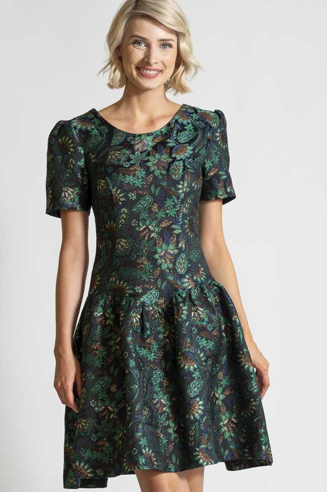 AW 21 GREEN JAQUARD DRESS