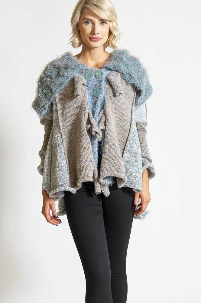 BIG COLLAR CARDIGAN