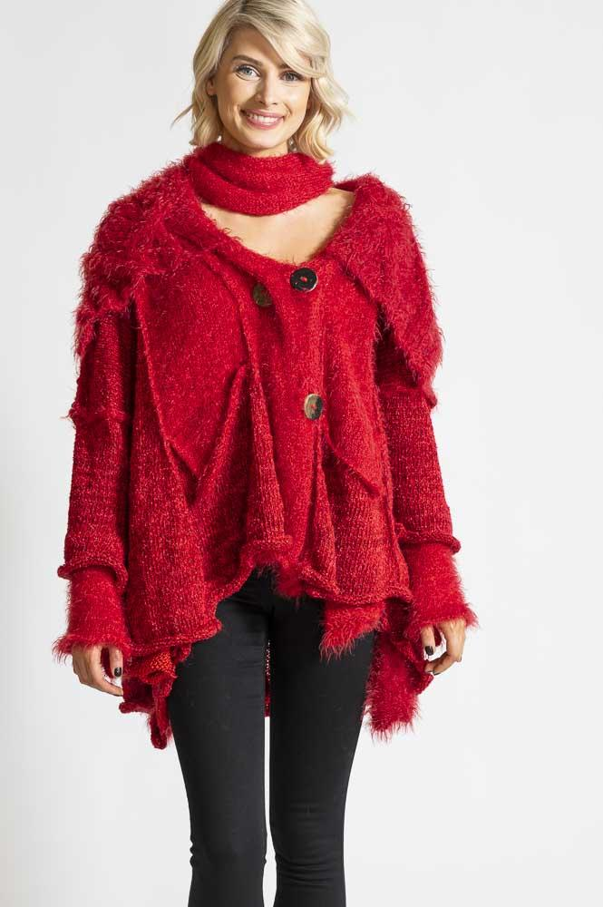 BIG RED KNIT CARDIGAN