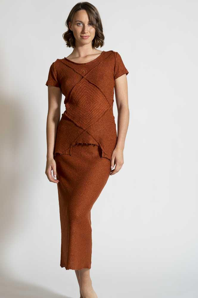 RUST TUNIC AND SKIRT