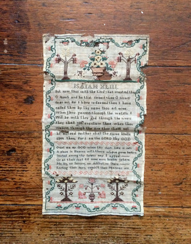 Antique Sampler - Georgian / Victorian Embroidered Sampler - Isaiah Text Sampler - Floral Embroidery - Antique Textiles  Vintage Textile Art
