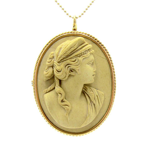 Antique Hera Lava Cameo Pendant / Brooch 14K Gold | Greek Goddess Hera / Roman Juno | Goddess of Marriage, Women, Childbirth, and Family