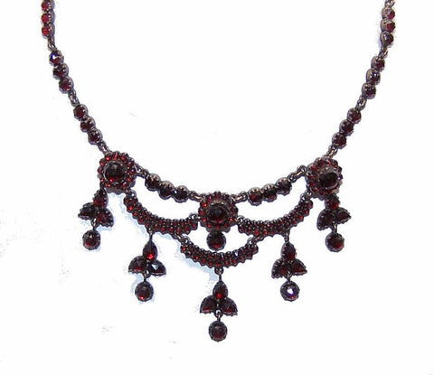 Antique Victorian,Rose Gold,9K Gold,BOHEMIAN Garnet,Garnet Necklace,Victorian Necklace,Festoon Necklace,Victorian Garnets,Drop Necklace