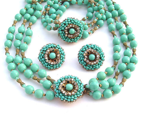 Vintage Miriam Haskell Jewelry Set Art Deco Turquoise Jewelry Glass Bead Necklace Bracelet Earrings Signed Women Gifts