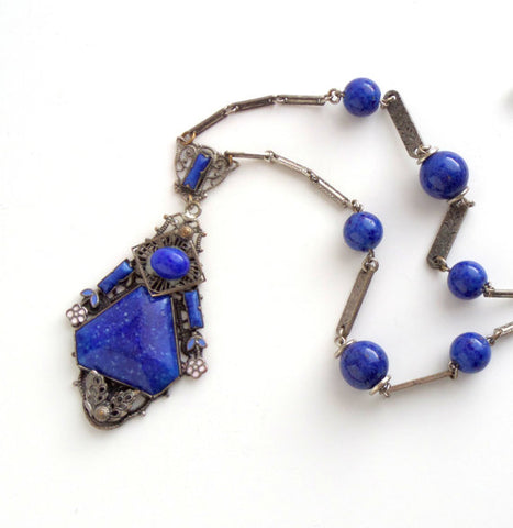 Art Deco Lapis Glass Necklace with Enamel. Possibly Neiger Bros.