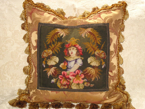 19th c Antique Victorian Needlepoint Tapestry Pillow of girl - Woolwork - TheOldJunkTrunk