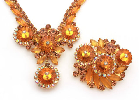 Juliana Rivoli Necklace Pin Set, Orange Juliana Demi Parure, Orange Topaz Rivoli, Smoky Topaz Rhinestone, Vintage Juliana Navettes Open Back - TheOldJunkTrunk