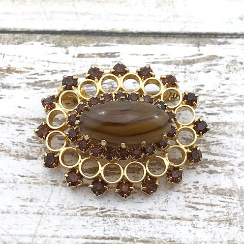 Vintage Scottish Glass Agate Brooch, Scottish topaz glass brooch, glass agate, topaz glass, 1940s - TheOldJunkTrunk