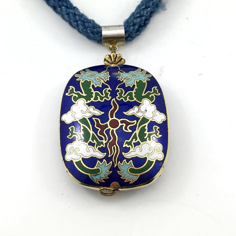 Vintage Cloisonne Necklace. Chinese Trade Export Dragons and Blue Cloisonne Bead - TheOldJunkTrunk