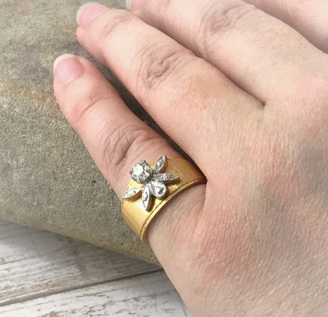 Art Nouveau Gold Filled Ring, Vintage High Set Cubic Zirconia Diamond, Crystal R