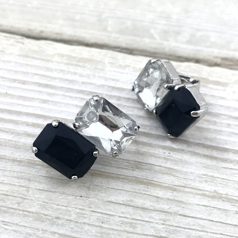Vintage Clear & Black Crystal Earrings, Rectangle glass rhinestones, geometric. - TheOldJunkTrunk