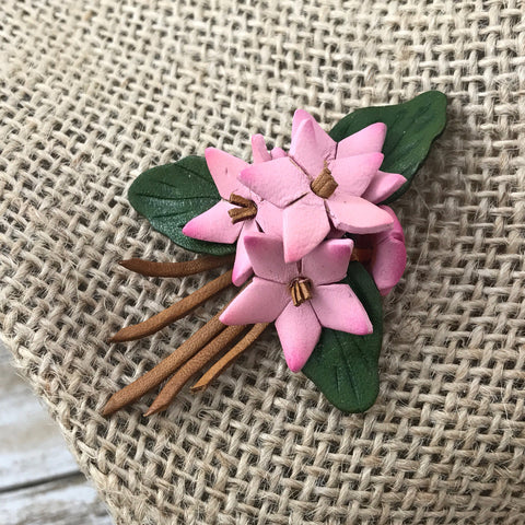 Vintage Leather Pink Flower Brooch, Bouquet, Wedding - TheOldJunkTrunk