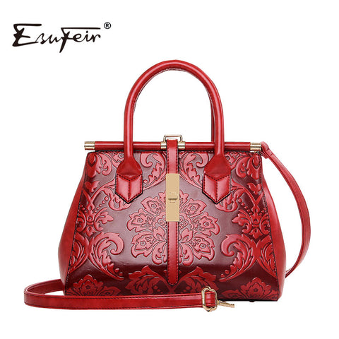 2018 Fashion Embossed Leather Women Handbag Quality Leather Women Bag Vintage Shoulder Bag Chinese Style Ladies Bag sac a main - TheOldJunkTrunk