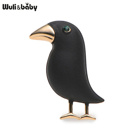 2018 Crow Brooch Black Paint Bird Enamel Brooches Men Women Suits Dress Hat Collar Brooch Pins Animal Scarf Buckle Gift - TheOldJunkTrunk