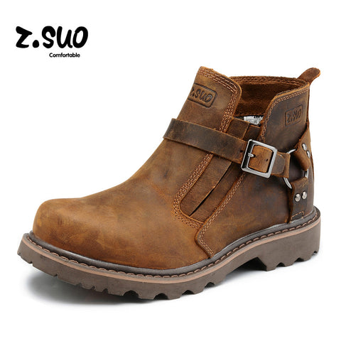 British Retro Boots Men Genuine Leather Brown Motorcycle Boots 2017 Casual Shoes Male Fashion Buckle Quality Zapatillas Hombre - TheOldJunkTrunk