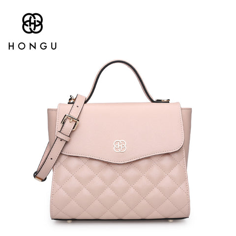 HONGU Genuine Leather Women's Shoulder Crossbody Bags Fashion Diamond Lattice plaid Women Handbags Tote Female Handbag Messenger - TheOldJunkTrunk