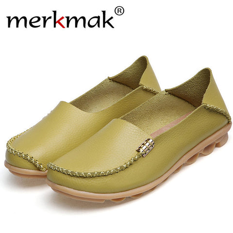 Merkmak Women's Shoes Real Leather Casual Loafers Slip-On Flats Footwear Fine Plus Size Driving Dress Moccasins Ladies Wholesale - TheOldJunkTrunk