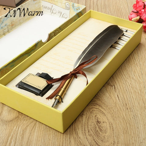 Antique Quill Feather Dip Pen Writing Ink Set Gift Box with 5 Nib Wedding Gift Quill Pen Fountain Pen Art Set - TheOldJunkTrunk