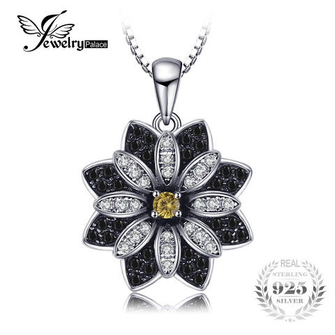 JewelryPalace Flower Natural Taupe Smoky Quartz Black Spinel Pendant 100% 925 Sterling Silver Fine Jewelry Not Include the Chain - TheOldJunkTrunk