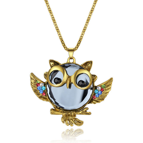 Fashion Vintage Rhinestone Studded Owl Pattern Long Necklace - TheOldJunkTrunk