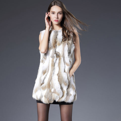 Sexy Fur Vest Women Rabbit Fur Vest Real Fur Coat For Women Winter Autumn Brand Sale Fur Vest Coats Fashion Outwear High Quality - TheOldJunkTrunk
