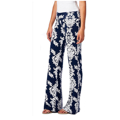 2018 New Loose High Waist Flare Wide Leg Floral Print Long Palazzo Pants Formal Trousers For Women - TheOldJunkTrunk