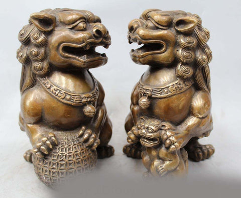 "8"" Chinese Folk Bronze Lion Foo Dog Ball Son Zun Statue Sculpture Pair - TheOldJunkTrunk"