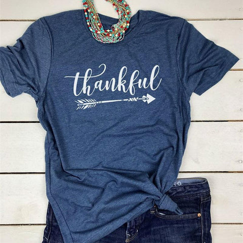 2018 Hot Women Thankful Letter Printed O-Neck Basic T-Shirt 2 Colors Short Sleeve Casual Top Tee Summer All Match Brand T Shirt - TheOldJunkTrunk