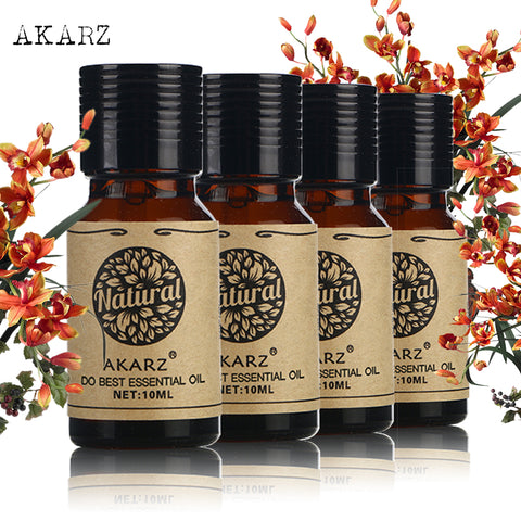 AKARZ Famous brand Musk Sandalwood Patchouli Tea tree Essential Oils Pack For Aromatherapy, Massage,Spa, Bath 10ml*4