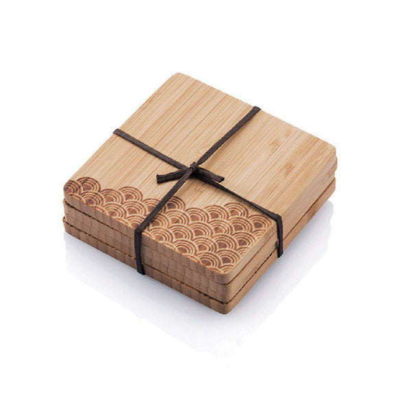 Bamboo Coasters with Outdoors Motif (Set of 4)