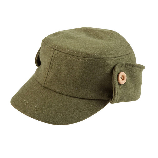 Buttoned Up Army Green Wool Blend Cap