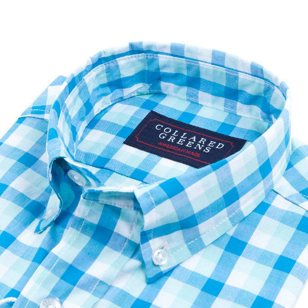 Cary Button Down Shirt - Blue, Teal, & White