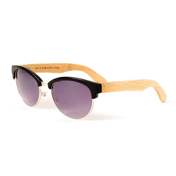 Black Gloss and Gold Metal Bamboo Sunglasses