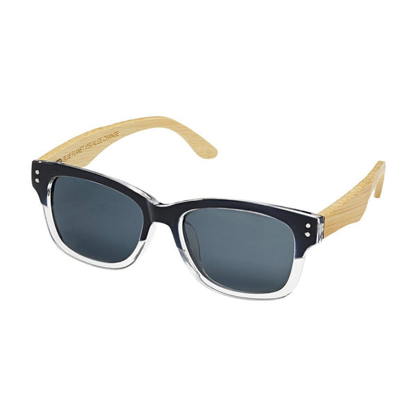 Missolua Black Gloss to Clear Bamboo Sunglasses