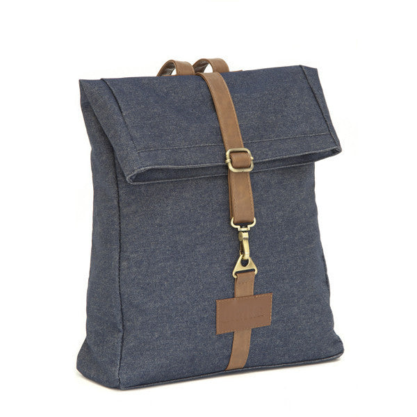 Indigo Denim Roll Top Backpack