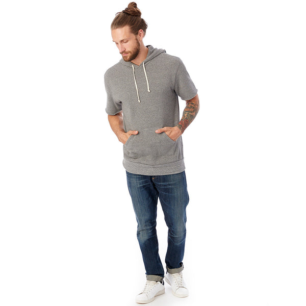 Short Sleeve Eco-Fleece Pullover Hoodie - Gray