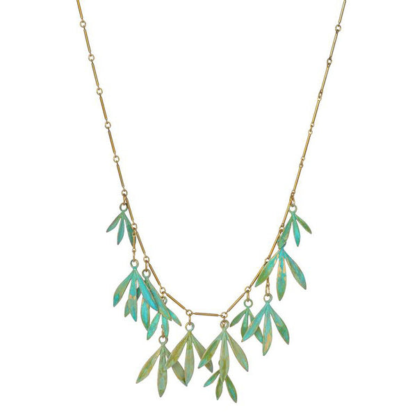 Bamboo Leaves Verdigris Necklace