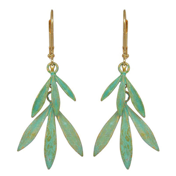 Bamboo Leaves Verdigris Earrings