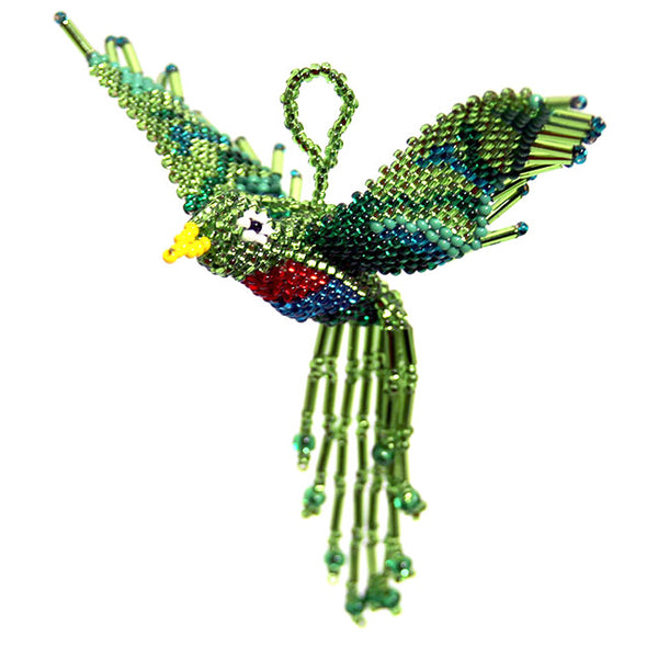 Beaded Green Bird Ornament