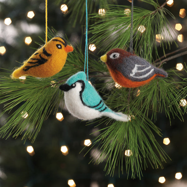 Felted Birds Ornaments Set