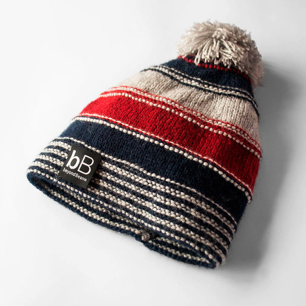 Blue & Red Striped Beanie with Pom