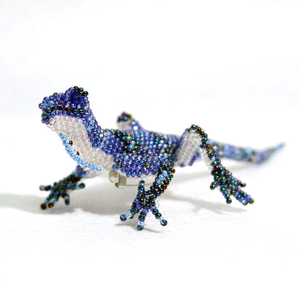 Blue Gecko Beaded Pin
