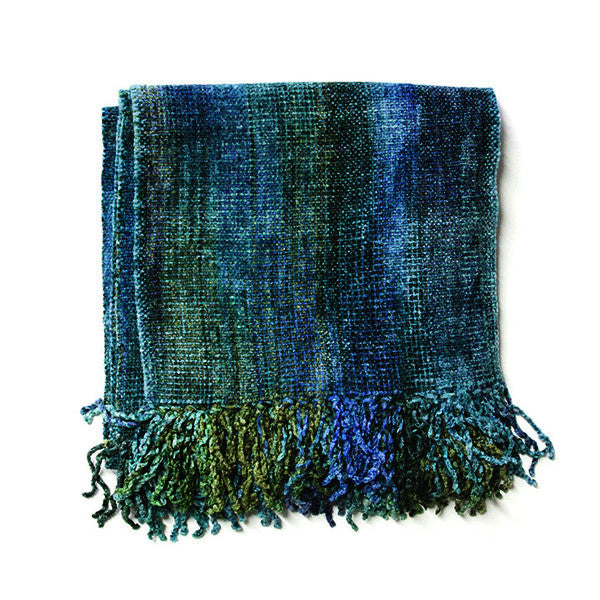 Blue & Green Bamboo Chenille Scarf