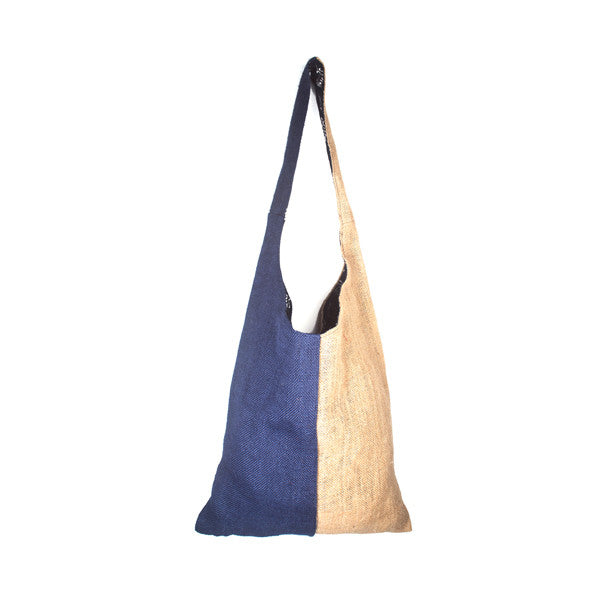 Color Block Jute Shoulder Tote
