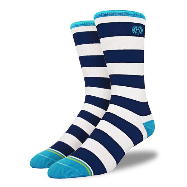 Navy & White Striped Socks